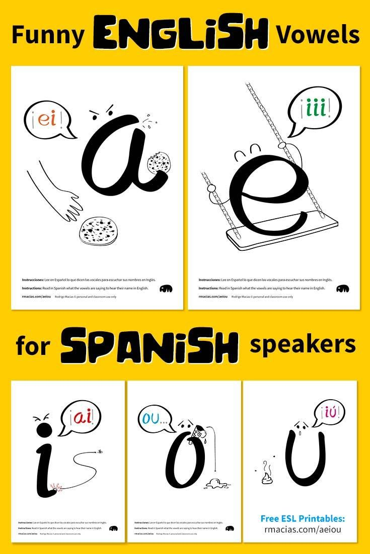 Free ESL Posters and Flash Cards: Funny Vowel Names for Spanish-Speakers