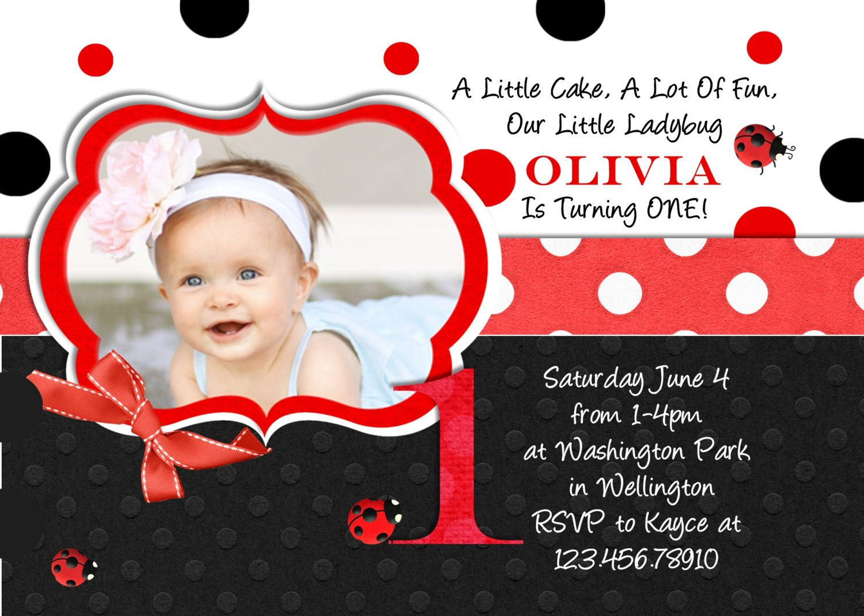 Little Ladybug Birthday Invitation Custom by 3PeasPrints on Etsy ...
