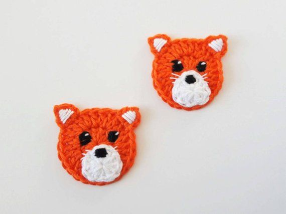 Fox appliques pcs crochet applique woodland animals etsy