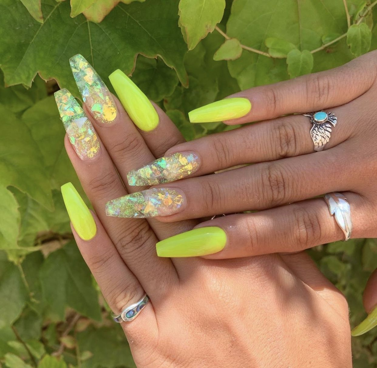 Nails Acrylicnails Nailart Neon Yellow Clear Longnails Rings Accessoriesjewelry Accessori Neon Acrylic Nails Acrylic Nails Yellow Yellow Nails Design