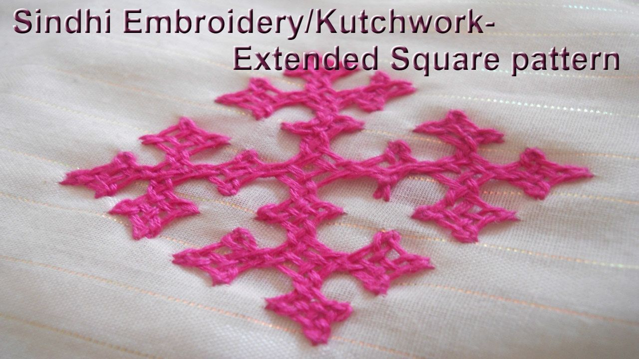 Sindhi embroiderykutch work extended square pattern bordados con