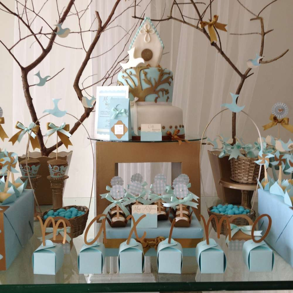 Vintage gold baptism party ideas baptism party boys and for Baby dedication decoration ideas