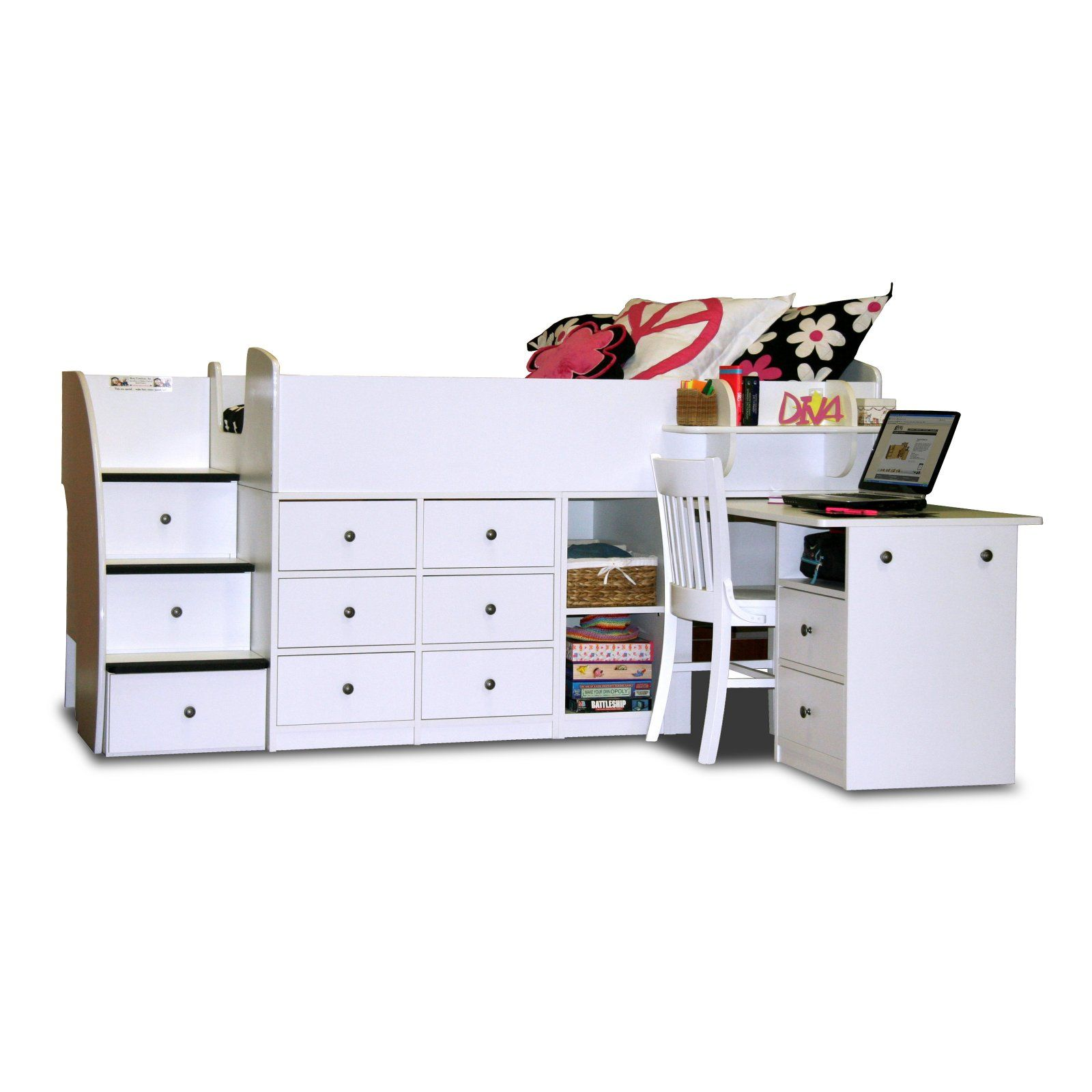 Loft captains bed twin  Sierra Loft Bed with Pull Out Desk and Stairway  Loft Beds at