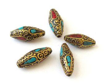 Kite shape brass beads from Nepal 2 beads-BD040 by Nepalbeadshop