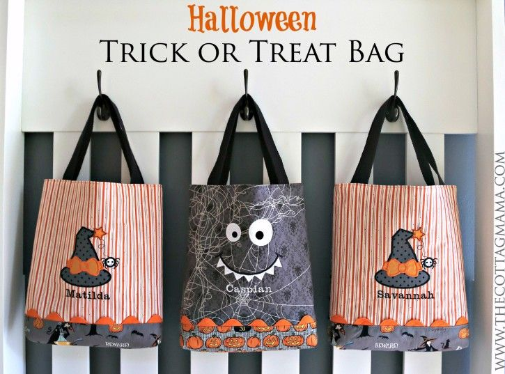 halloween trick or treat bag pattern by lindsay wilkes from the cottage mama www - Pinterest Halloween Treat Bags