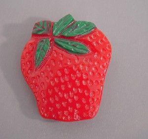 Shultz red strawberry brooch