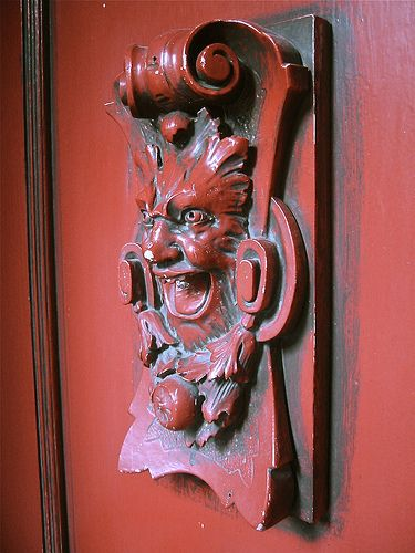 Red Door with Carved Wood Green Man, Gold Coast Home, Chicago ...