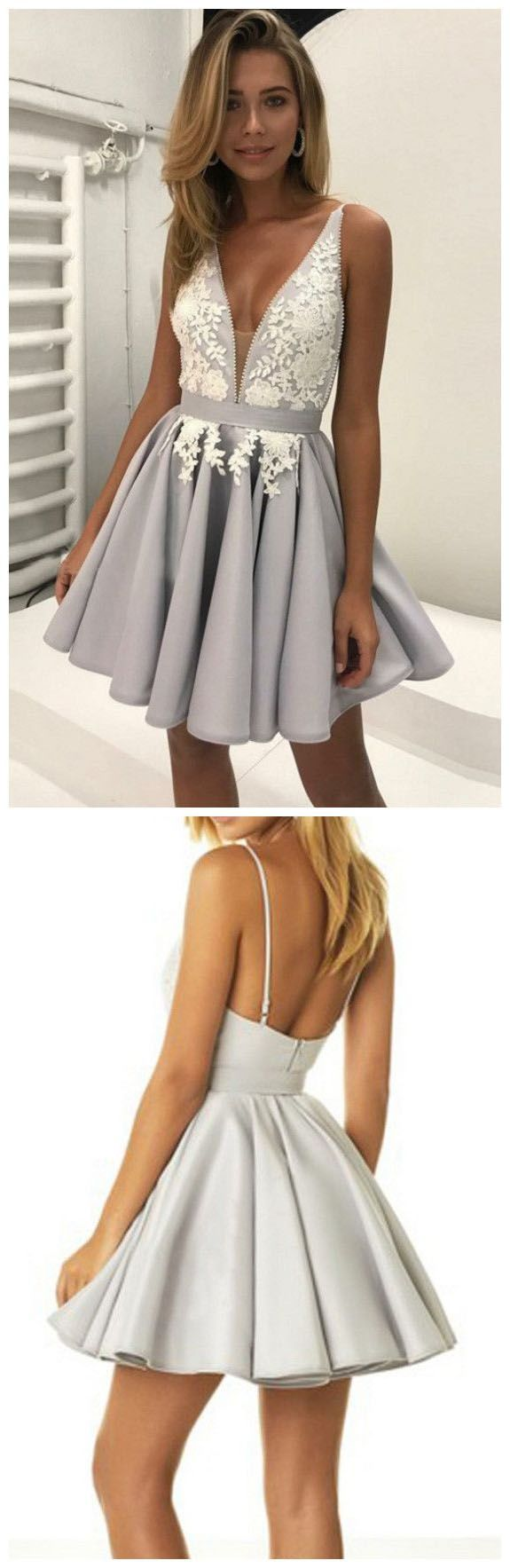 Hot sale fancy prom dresses vneck grey homecoming dreses short