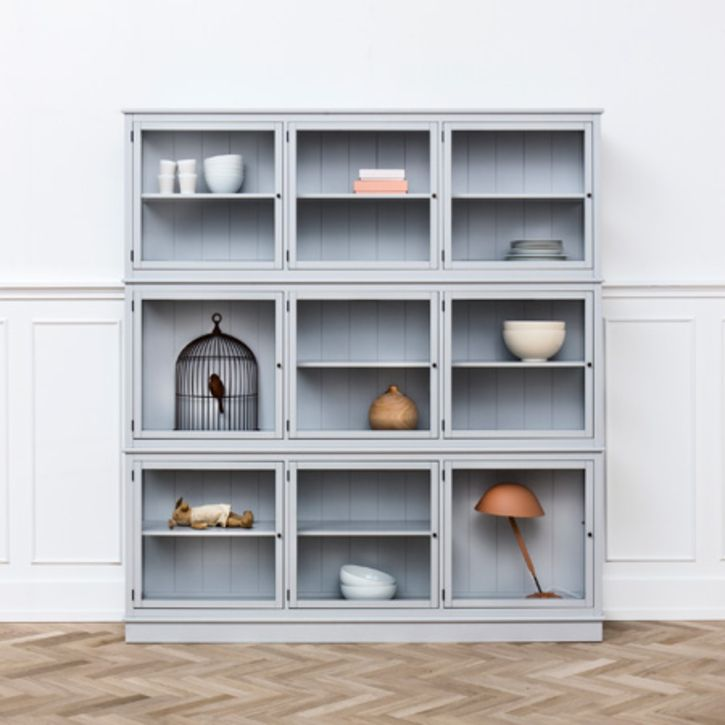 Grey Large Glass Cabinet by Oliver Furniture