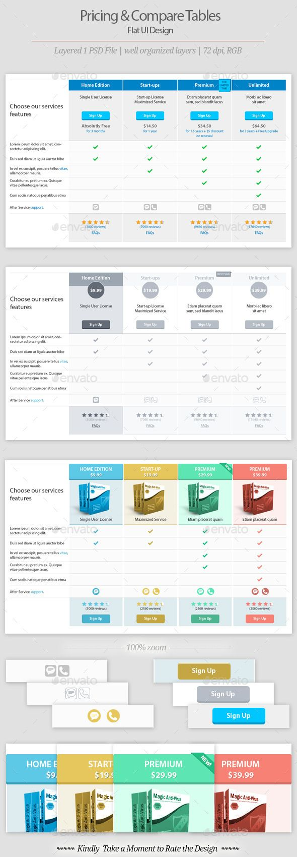 Pricing And Comparison Table Templates Template Flat Style And
