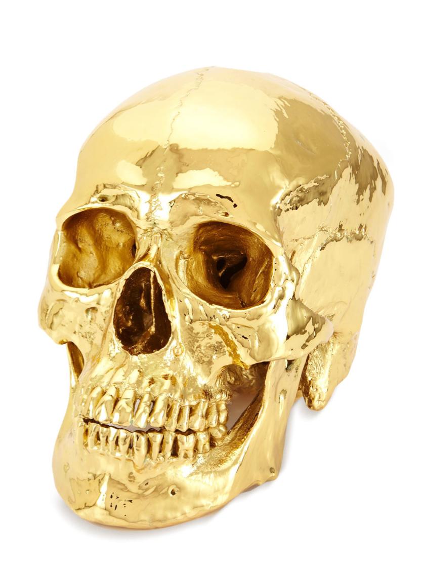 Eduardo Garza Gold Plated Human Skull Skull Art Skull Gold Skull
