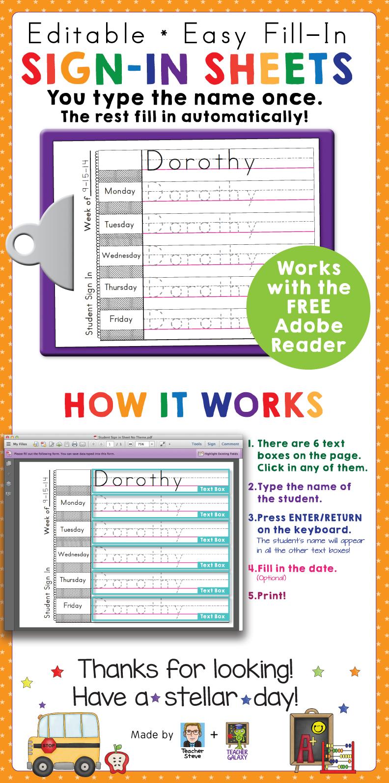 Preschool and Kindergarten Name Writing Practice Sign In Sheets ...