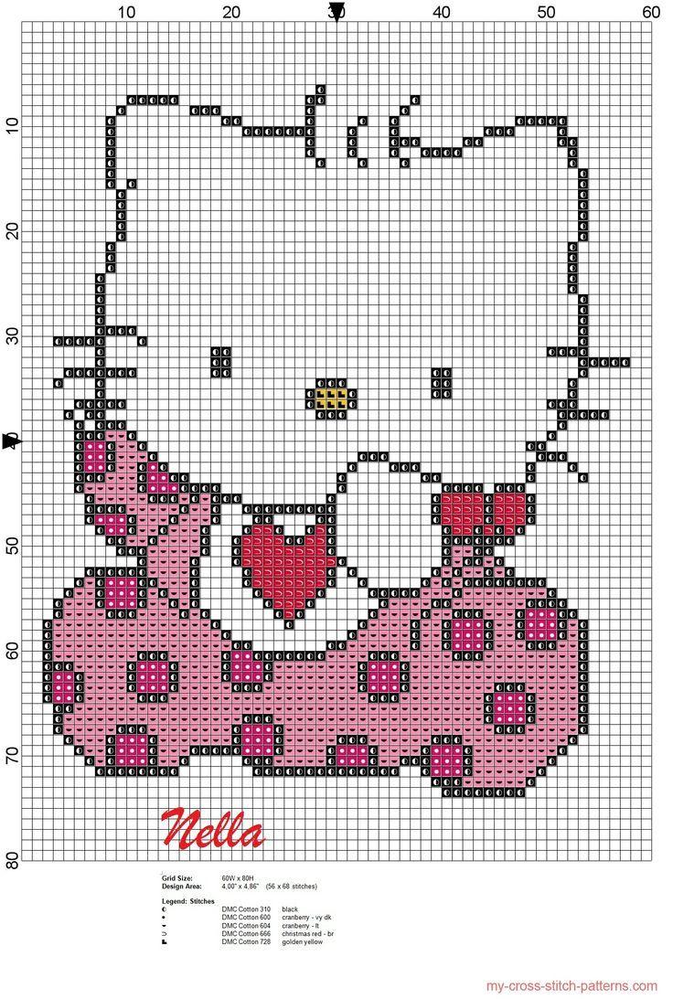 hello kitty bebe   Point de croix, Modèles de point de croix