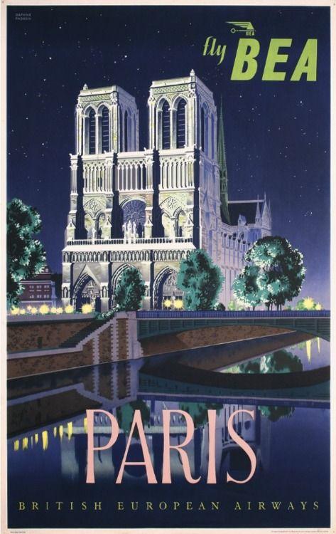 Vintage Ytravel Poster Paris Notre Dame Bea Paris Poster Travel Posters Vintage Travel Posters