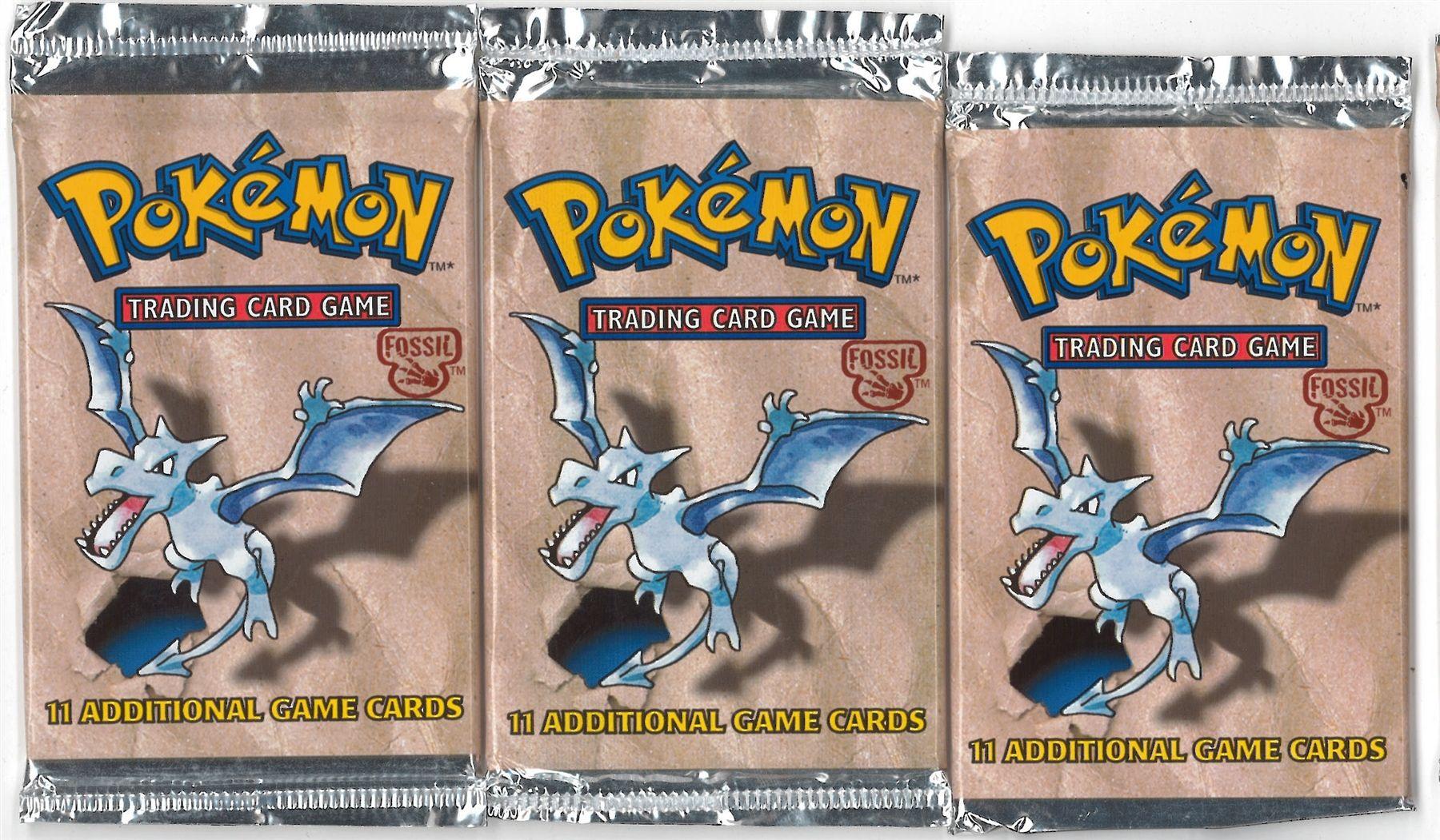 pokemon packs   Pokemon Fossil Booster Pack X3 - Three Aerodactyl Art Booster Packs ...