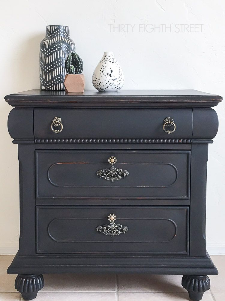 Classy Rustic Black Nightstand Country Chic Paint Blog Black Distressed Furniture Black Painted Furniture Distressed Furniture