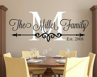Family Last Name Monogram Personalized Custom Wall Decal Sticker  Established Date Housewarming Or Wedding Shower Gift Idea Present Tall  Family Last Name ...