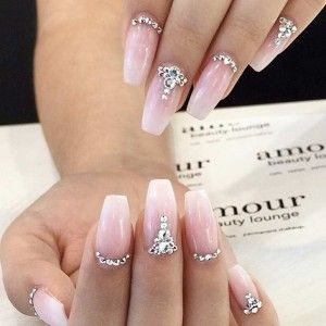 Sparkly rhinestone wedding nails nails with rhinestones studs ombre wedding nails ombre hair is very big right now and ombre nails are just as in trend if you want elegant wedding nail art designs with a slightly more prinsesfo Images