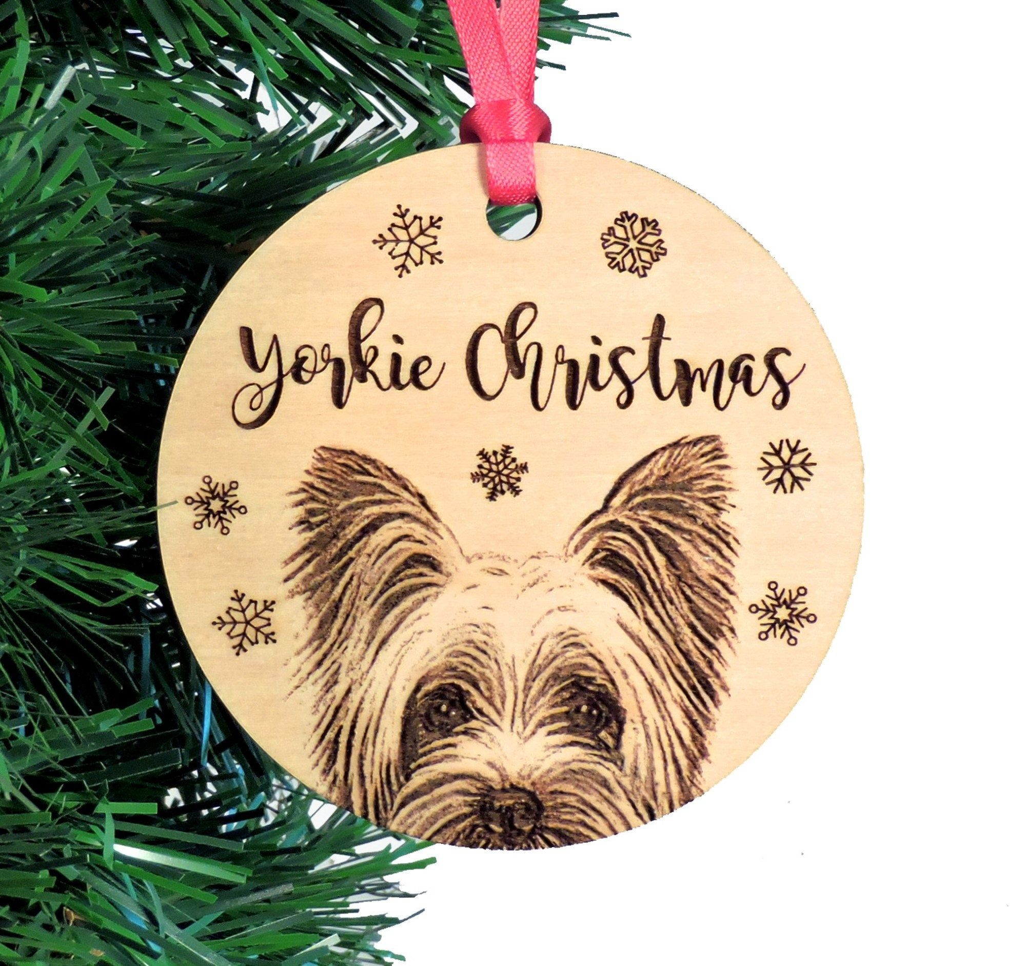 Yorkshire Terrier Ornament Yorkie Gift Add Custom Text Etsy Yorkie Dog Gifts Dachshund Gifts