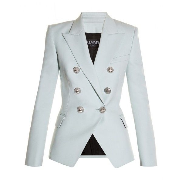 Balmain Double-breasted wool blazer (£785) ❤ liked on Polyvore featuring outerwear, jackets, blazers, balmain, coats, light blue, balmain blazer, shoulder pad blazer, peak lapel blazer and military style blazer
