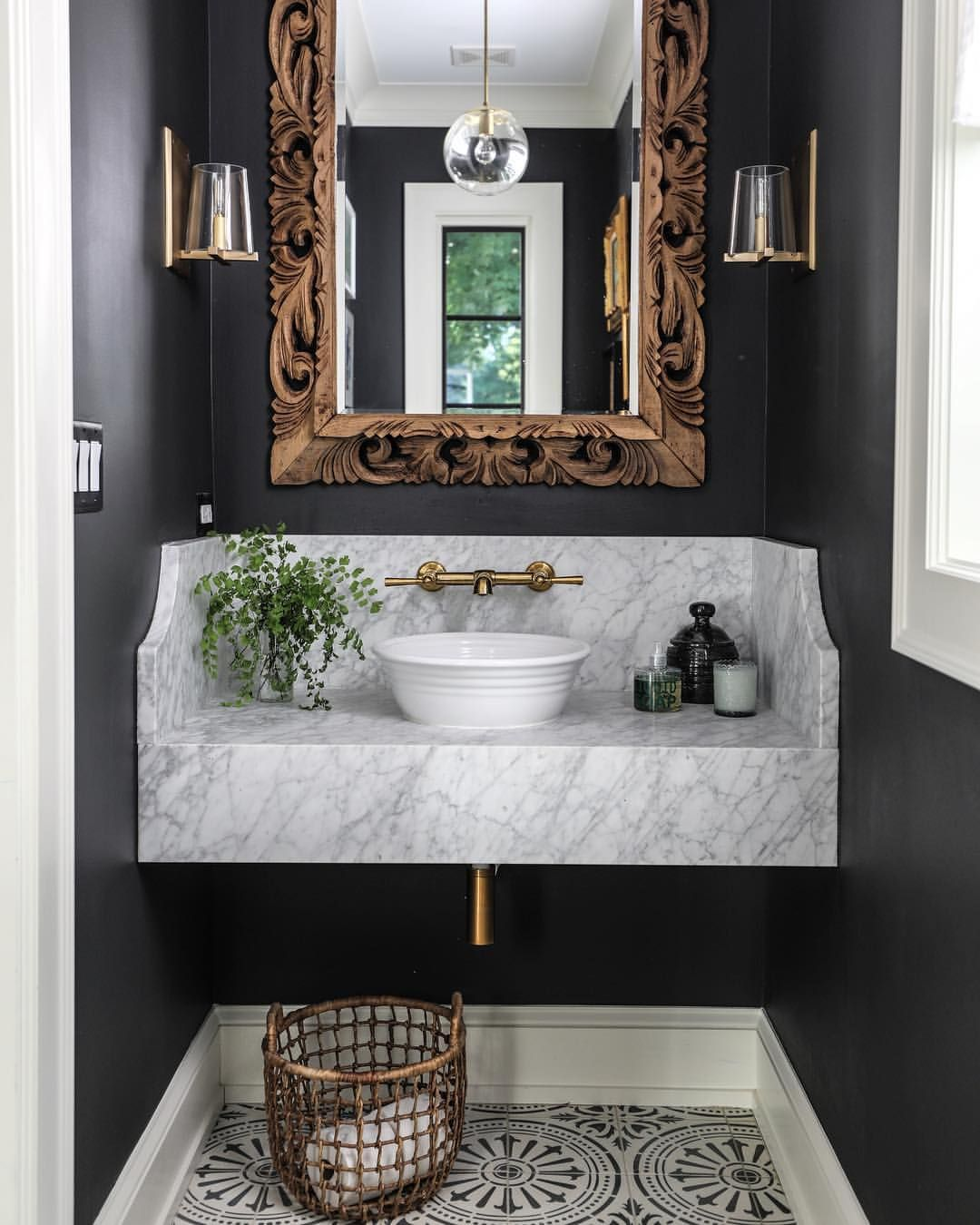 An Antique Mirror Can Make Such A Statement In A Powder Room More