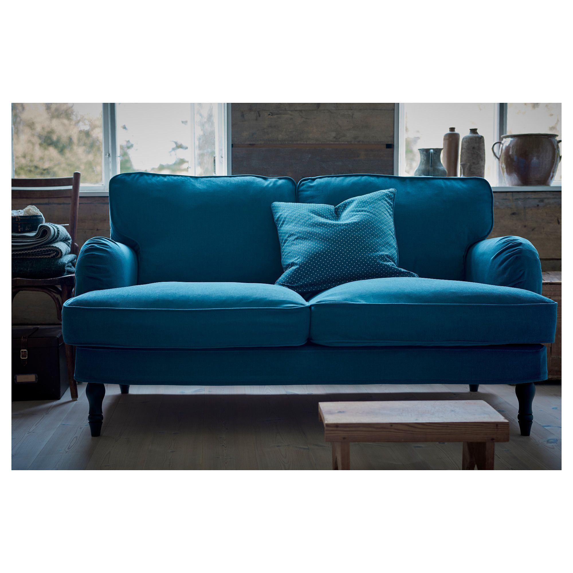 Ikea Stocksund Sofa Ljungen Blue Black Wood
