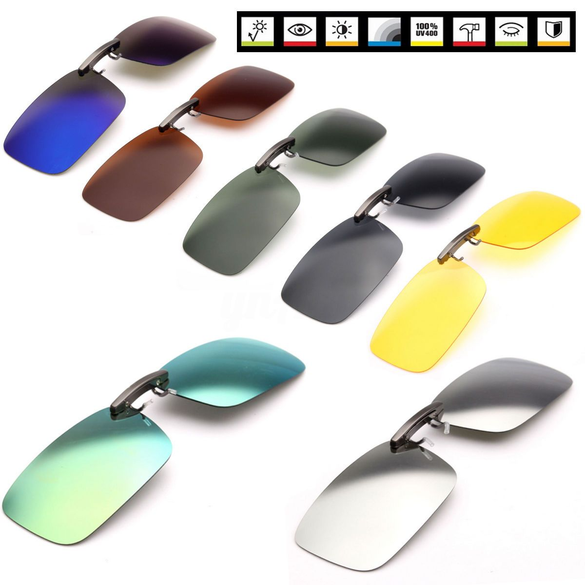 f49e56cce7b Polarized Sunglasses Clip-On Flip-Up Driving Glasses Day Night Vision Lens  Uv400