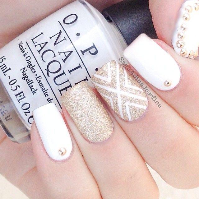 Uñas blancas con dorado | My Style | Pinterest | Uñas blancas ...