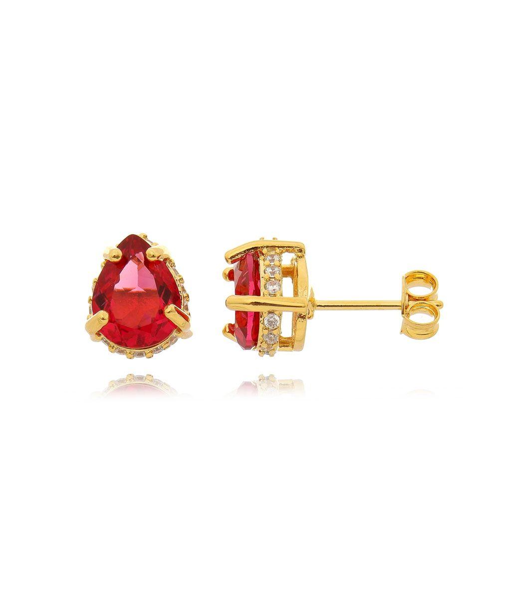 Brinco gotinha mini folheado a ouro zirconia rubi galeria cravejada semi  joias 5a8a4202b6