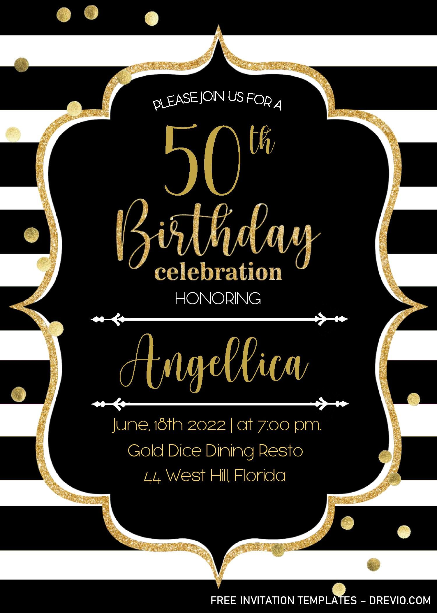 Black And Gold 50th Birthday Invitation Templates - Editable With MS Word |  DREVIO in 2020 | Free printable birthday invitations, Printable birthday  invitations, Invitation template