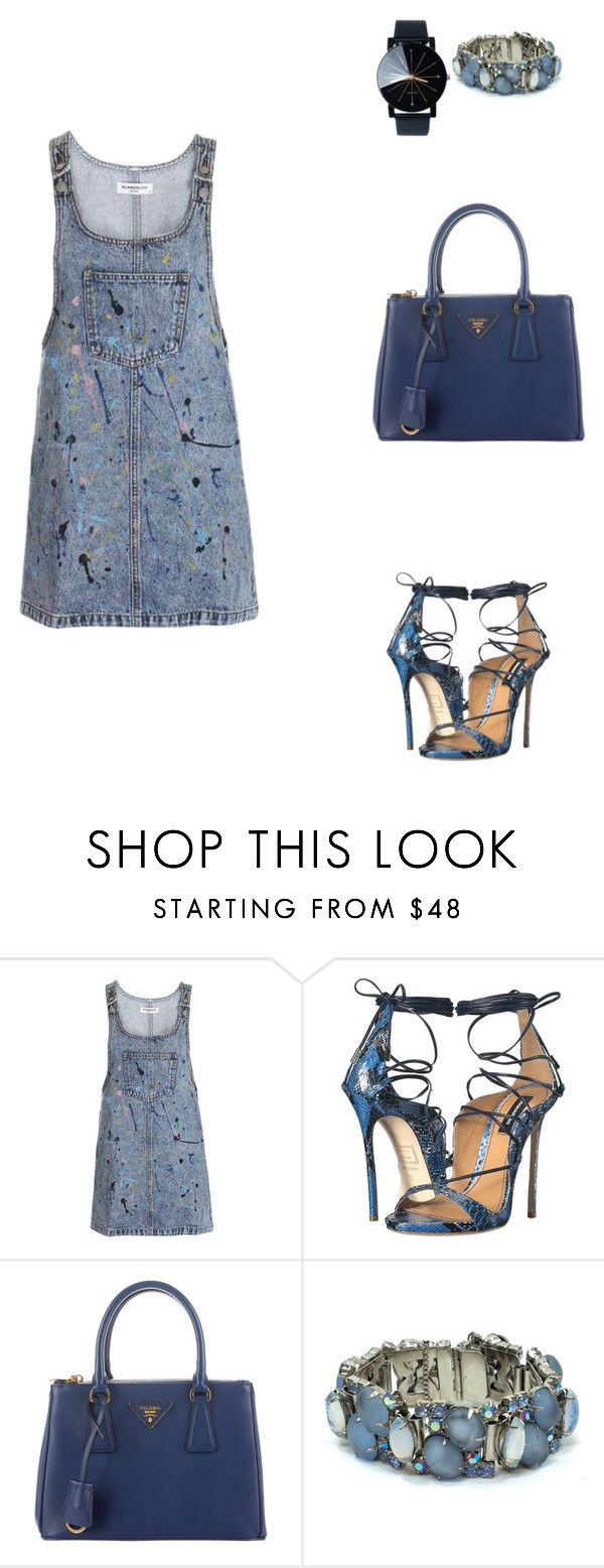 """Hotel in New York City."" by cmmpany ❤ liked on Polyvore featuring Topshop, Dsquared2 and Prada"