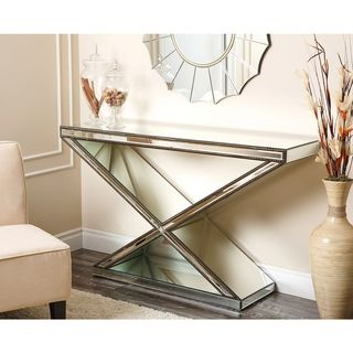Abbyson Living Cosmo X Shaped Mirrored Console Table | Overstock.com  Shopping   Great
