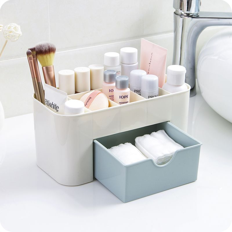 1pc Plastic Desktop Cosmetic Case Multifunctional Jewelry Box Storage Box Desk Storage Container Plastic Box Storage Makeup Storage Drawers Desktop Storage