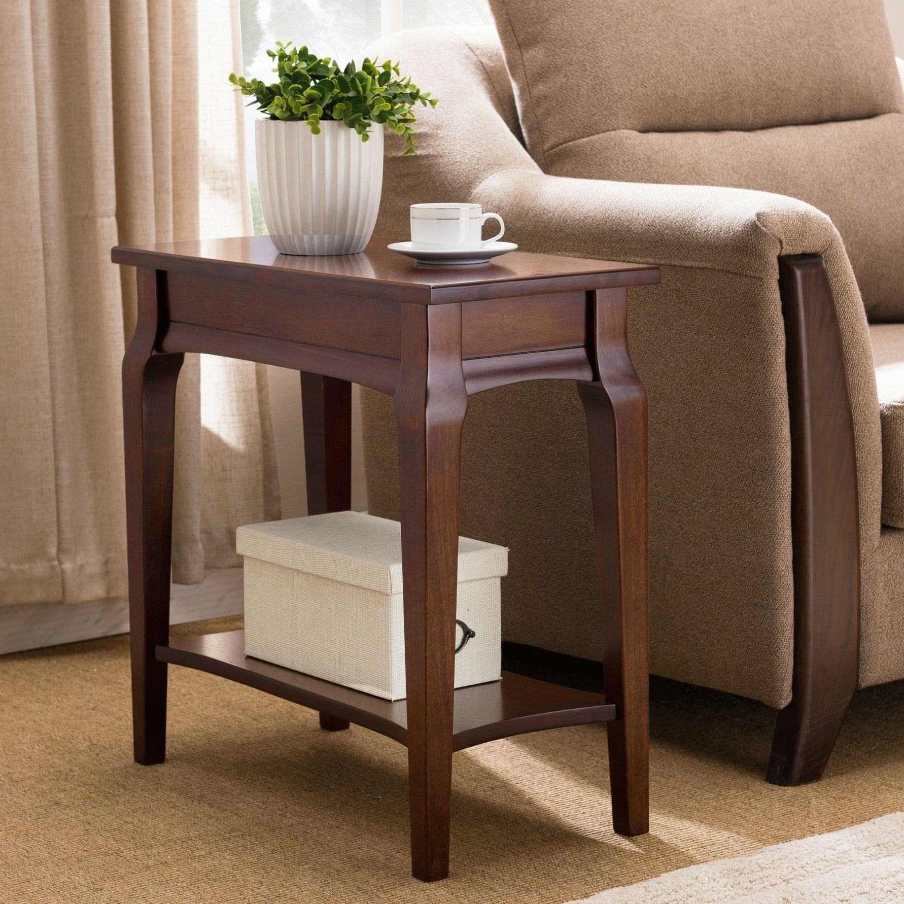 narrow chairside table with drawers furniture kd furnishings cherryfinish narrow chairside table wood table brown