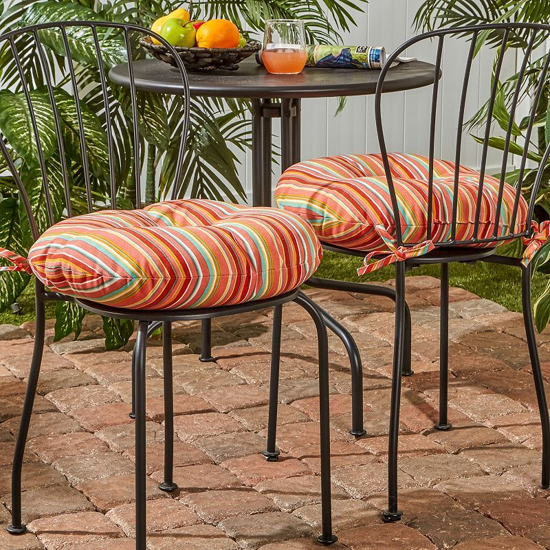 Greendale Home Fashions 2 Pack 18 In. Round Outdoor Bistro Chair Cushion,  Red