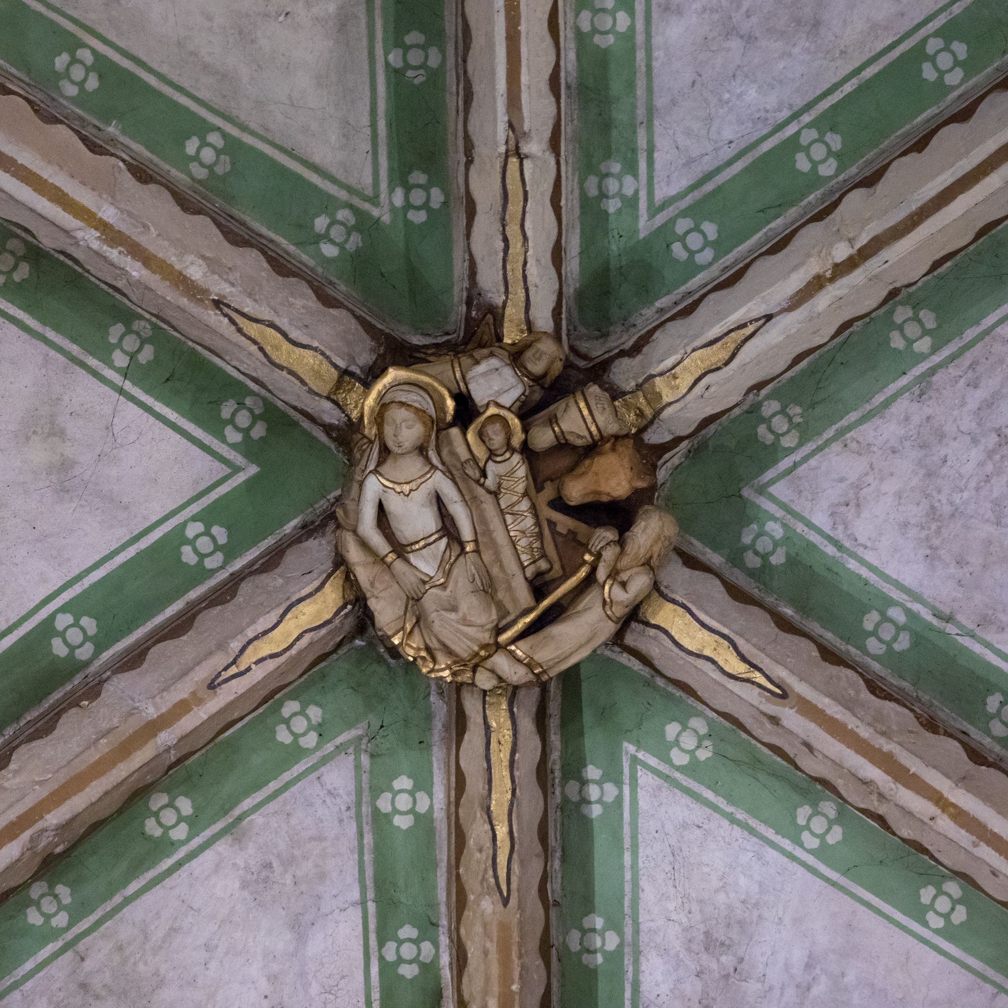 The Nativity Roof Boss Tewkesbury Abbey Abbey Church Of St Mary The Virgin 19 St Mary Norman Architecture Tewkesbury