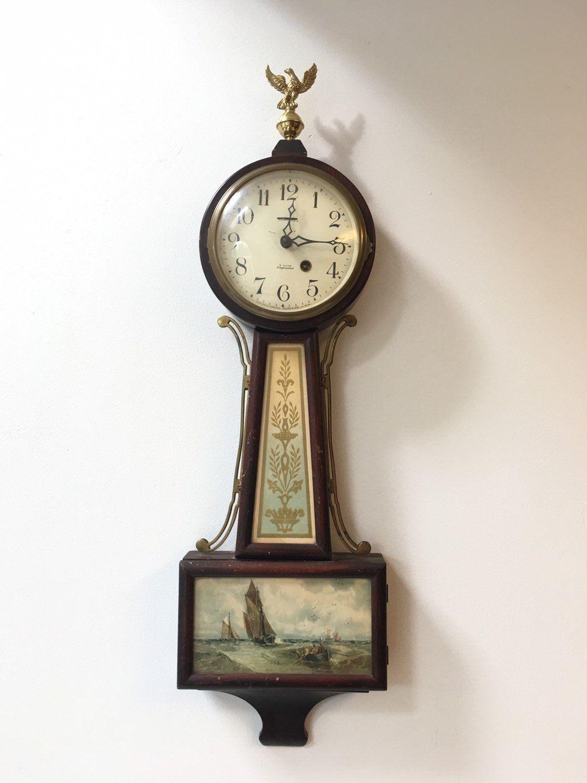 Antique New Haven Clock Co Warwick Banjo Clock Reverse Etsy Clock Antiques Clock Repair
