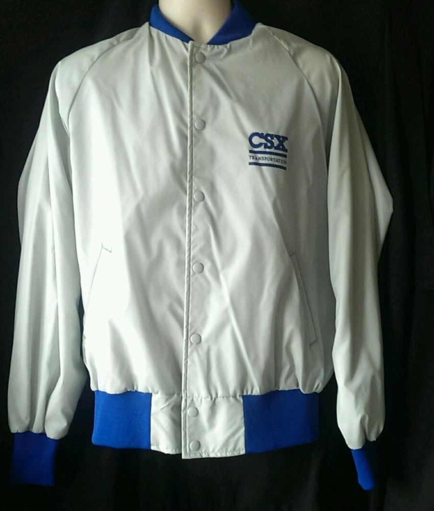 CSX Transportation Railroad Button Up Windbreaker Jacket Size ...