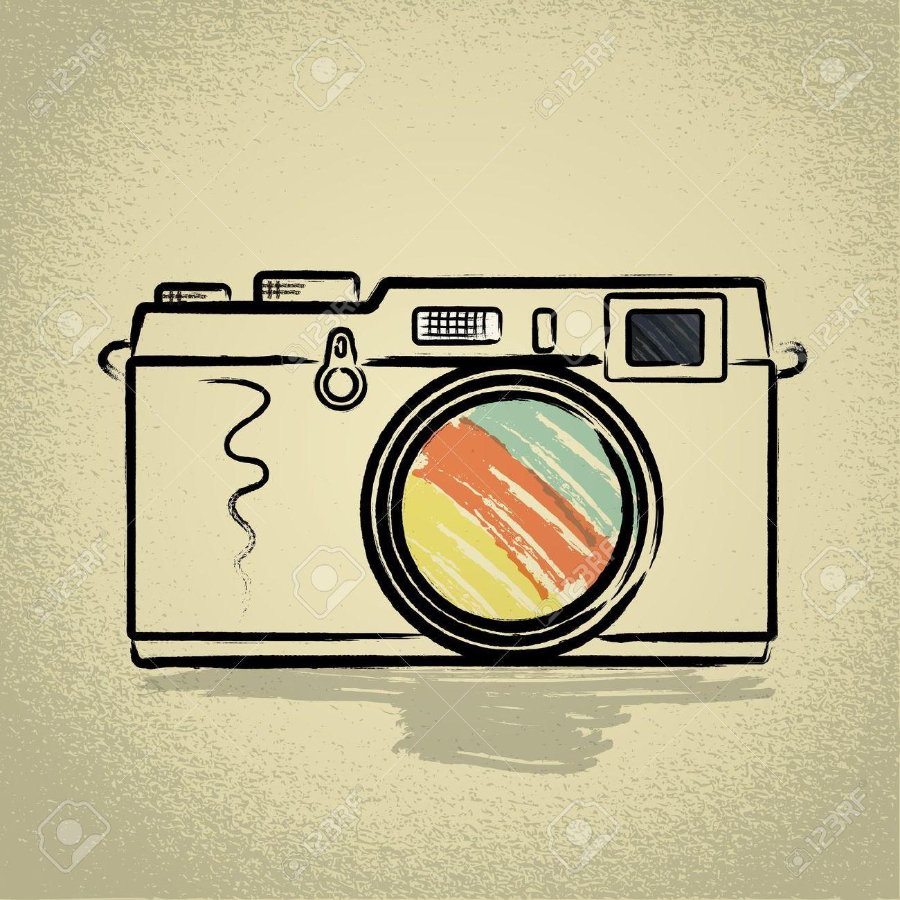 Rangefinder Camera Illustration With Brushwork Camera Illustration Camera Art Camera Drawing