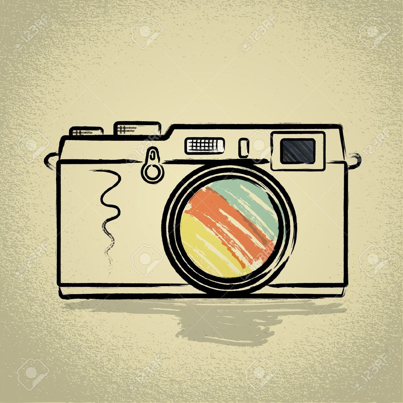 Vintage Canon Camera Original Folk Art Painting | Vintage cameras ...
