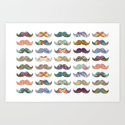 Mustache Mania Art Print by Bianca Green // can I just have the whole society6 store instead?