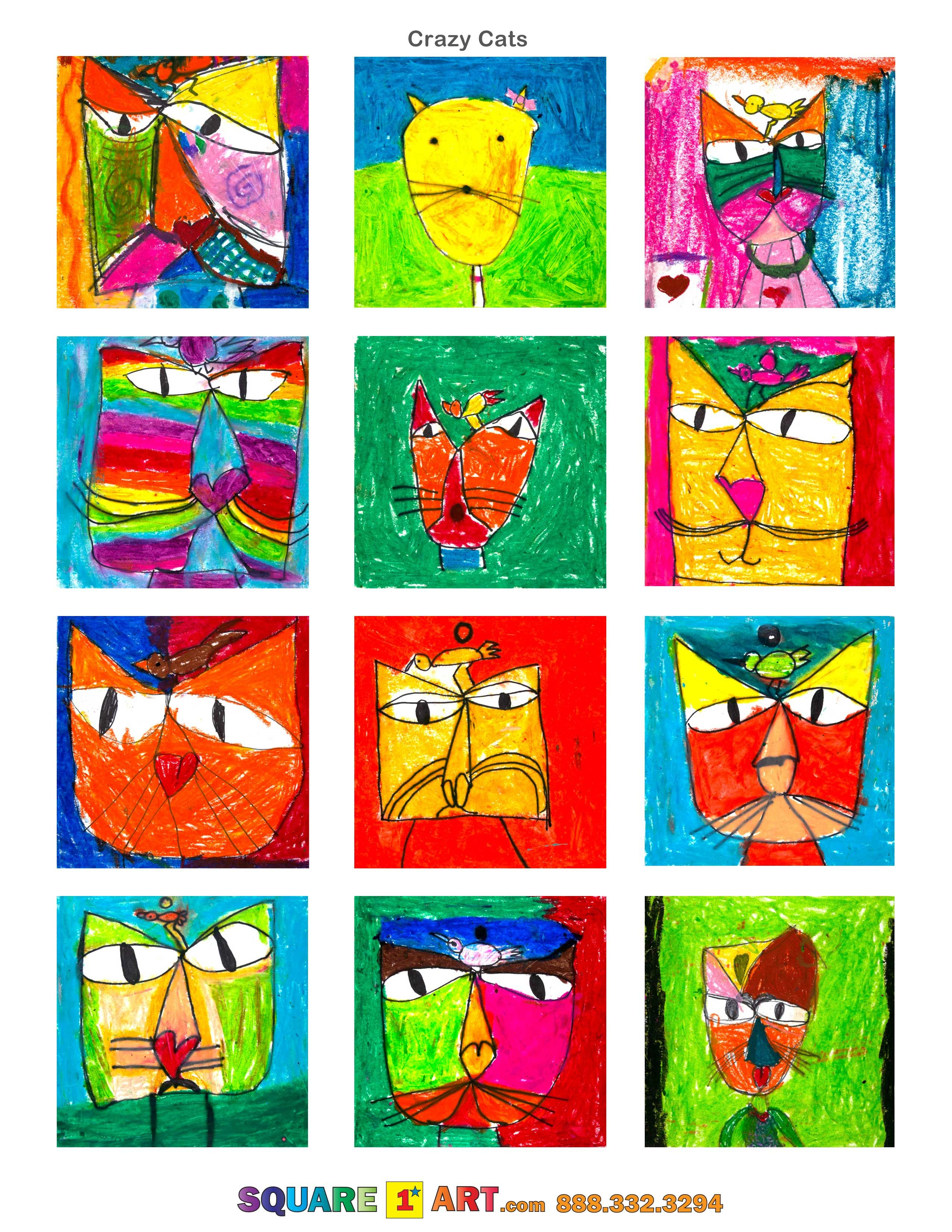 Crazy Cats  Medium: Oil Pastels  www.square1art.com