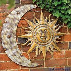 Gardman Aztec Sun And Moon Wall Art Aged Gold 26 W X 24 H At Bestnest Com Outdoor Sun Wall Art Moon Wall Art Garden Wall Art