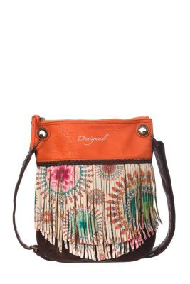 Desigual women's Colour bag. With a retro style, it has tassels printed on the front that give this bag a unique original look. A single interior compartment. Zip fastening.