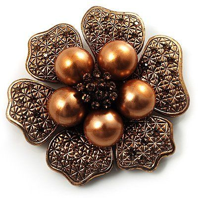 6-Petal Pearl Style Floral Brooch (Copper Brown) Avalaya. $21.60. Occasion: anniversary, cocktail party, going to theatre. Material: pearls. Gemstone: swarovski crystal, faux pearl. Theme: floral, flower. Metal Finish: copper
