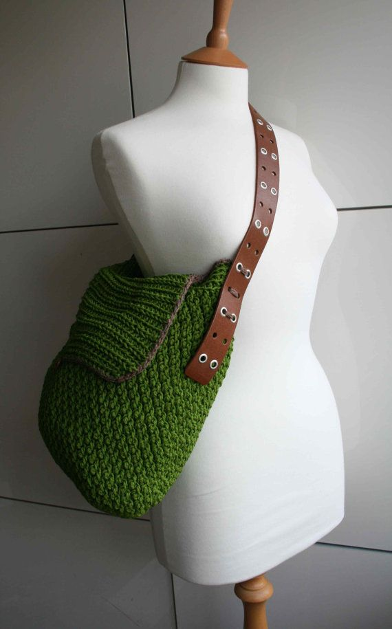 Crochet pattern crochet bag pattern Leather handle by LuzPatterns