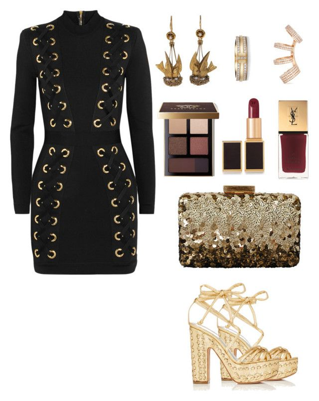 """Untitled #117"" by reemf52 ❤ liked on Polyvore featuring Balmain, Alchimia Di Ballin, Oscar de la Renta, Bobbi Brown Cosmetics, Tom Ford, Yves Saint Laurent and Repossi"