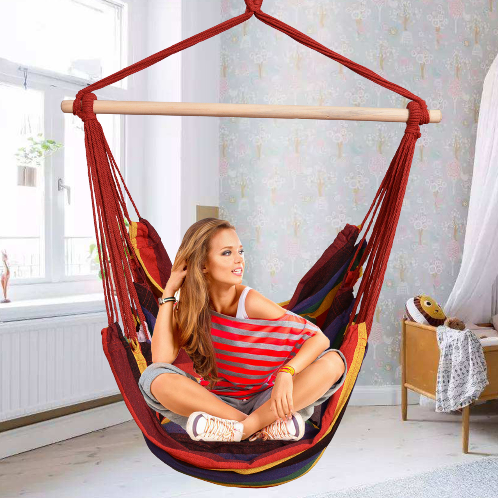 Toucan Outdoor Hanging Rope Chair Hammock Swing Chair With Pillow Set Rainbow Hammock Swing Chair Hanging Rope Chair Hammock Swing