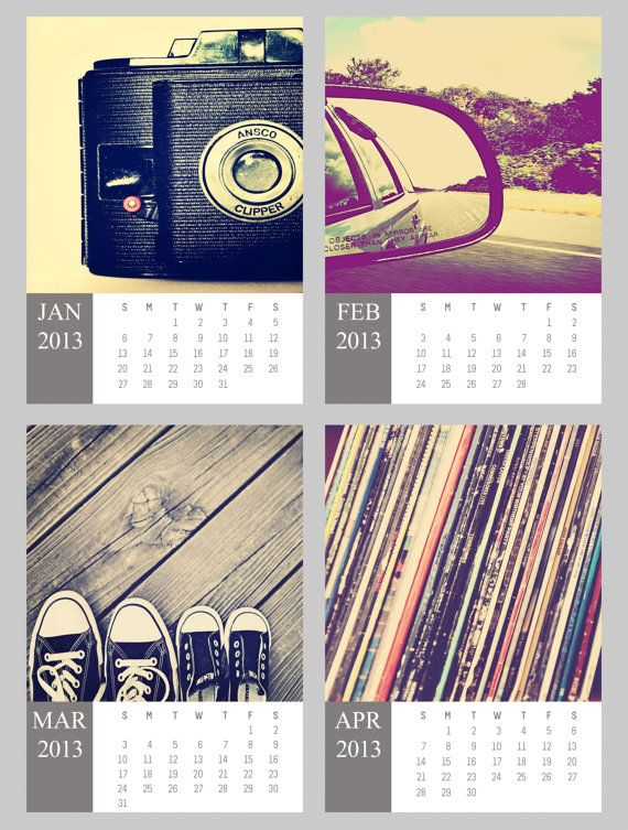 For The Hipster - 2013 Calendar 5x5 photography prints on 5x7 pages home office decor wall art music bike hip vinyl music surf car camera. Four Trees Photography - via Etsy #fpoe