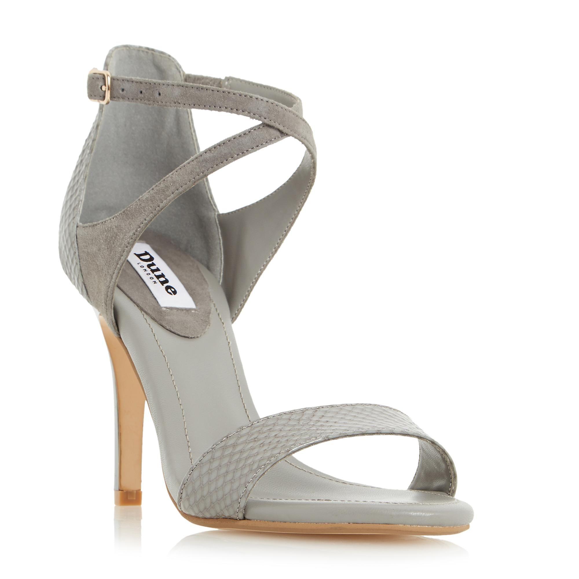 Dune La s MADELEINE Strappy Cross Strap Heeled Sandal in Grey